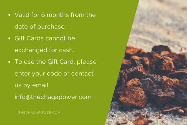 chaga power gift card 40